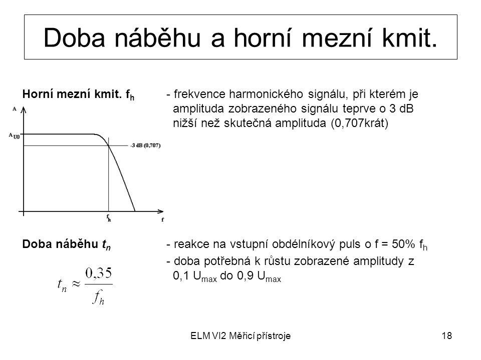 ELM VI2 Měřicí přístroje18 Doba náběhu a horní mezní kmit. Horní mezní kmit. f h - frekvence harmonického signálu, při kterém je amplituda zobrazeného