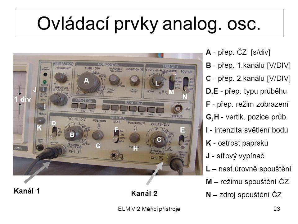 ELM VI2 Měřicí přístroje23 Ovládací prvky analog. osc. Kanál 1 Kanál 2 A B C D E 1 div I K J F G H L M N A - přep. ČZ [s/div] B - přep. 1.kanálu [V/DI
