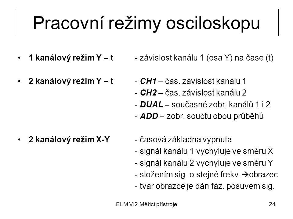 ELM VI2 Měřicí přístroje24 Pracovní režimy osciloskopu 1 kanálový režim Y – t- závislost kanálu 1 (osa Y) na čase (t) 2 kanálový režim Y – t- CH1 – ča