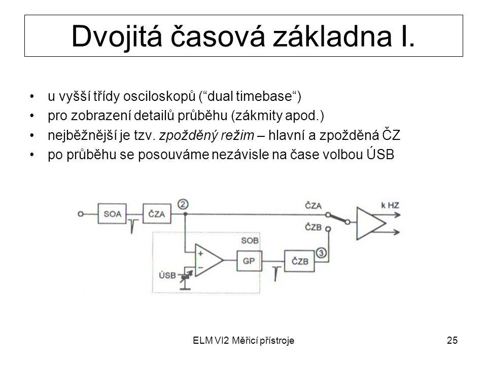 """ELM VI2 Měřicí přístroje25 Dvojitá časová základna I. u vyšší třídy osciloskopů (""""dual timebase"""") pro zobrazení detailů průběhu (zákmity apod.) nejběž"""