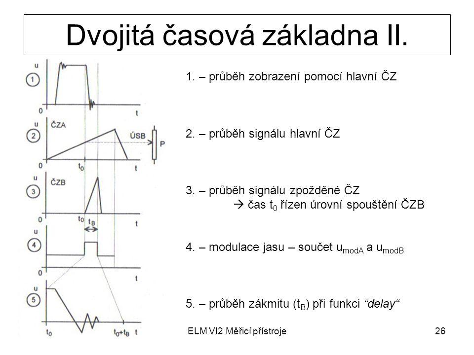 ELM VI2 Měřicí přístroje26 Dvojitá časová základna II. 1. – průběh zobrazení pomocí hlavní ČZ 2. – průběh signálu hlavní ČZ 3. – průběh signálu zpoždě