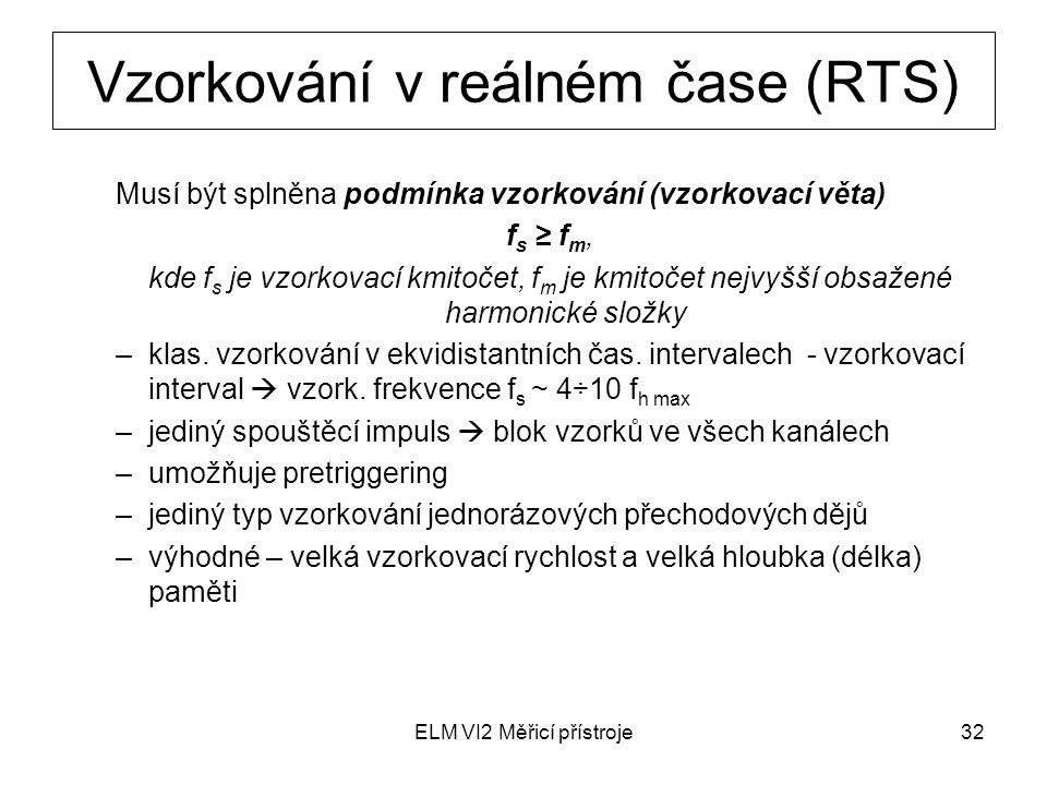 ELM VI2 Měřicí přístroje32 Vzorkování v reálném čase (RTS) Musí být splněna podmínka vzorkování (vzorkovací věta) f s ≥ f m, kde f s je vzorkovací kmi