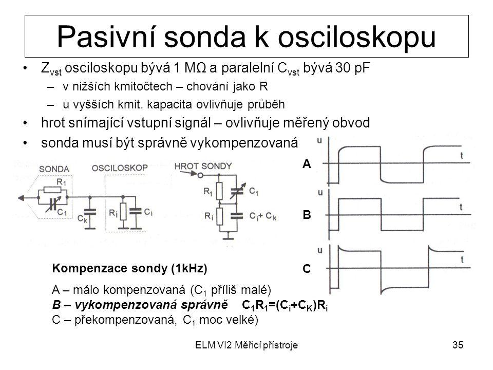 ELM VI2 Měřicí přístroje35 Pasivní sonda k osciloskopu Z vst osciloskopu bývá 1 MΩ a paralelní C vst bývá 30 pF –v nižších kmitočtech – chování jako R