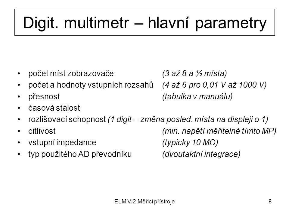 ELM VI2 Měřicí přístroje8 počet míst zobrazovače (3 až 8 a ½ místa) počet a hodnoty vstupních rozsahů(4 až 6 pro 0,01 V až 1000 V) přesnost (tabulka v