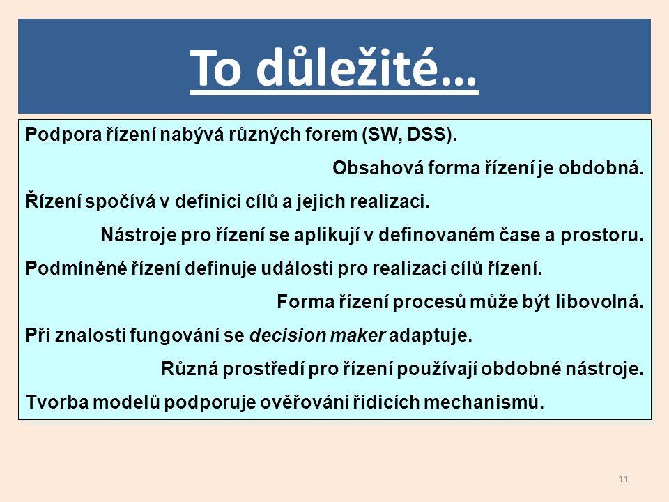 11 To důležité… Podpora řízení nabývá různých forem (SW, DSS).