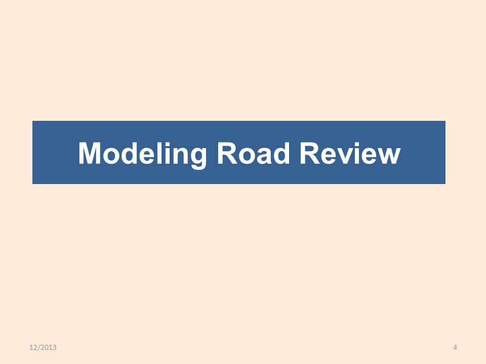 12/20134 Modeling Road Review