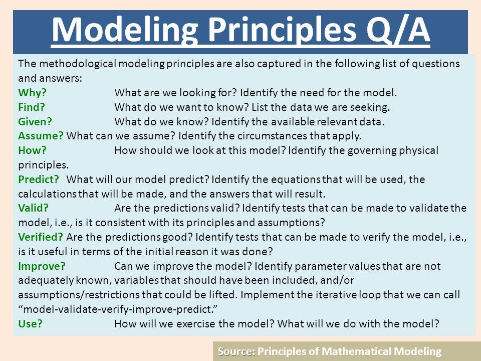 Přednáška č. 5 Source: Source: Principles of Mathematical Modeling