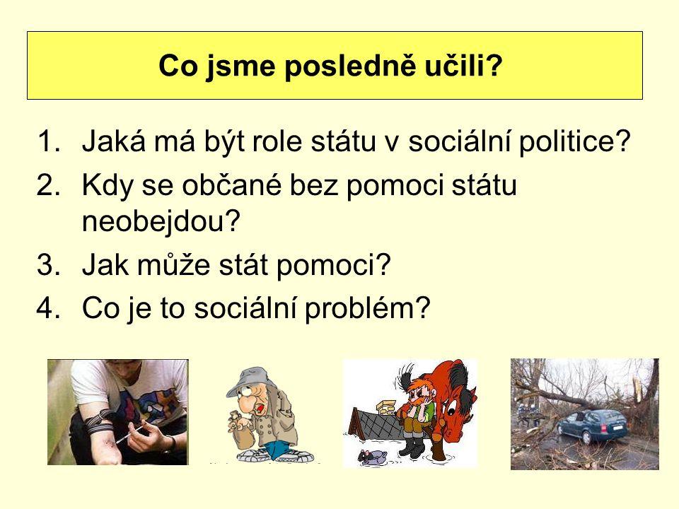 1.Jaká má být role státu v sociální politice. 2.Kdy se občané bez pomoci státu neobejdou.