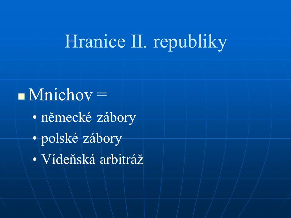 Hranice II. republiky Mnichov = německé zábory polské zábory Vídeňská arbitráž