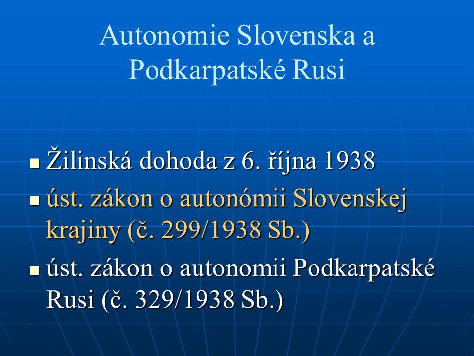 Autonomie Slovenska a Podkarpatské Rusi Žilinská dohoda z 6. října 1938 Žilinská dohoda z 6. října 1938 úst. zákon o autonómii Slovenskej krajiny (č.