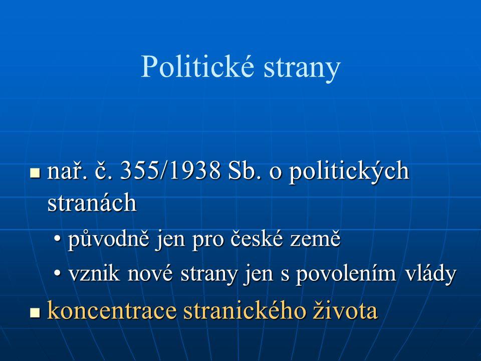 Politické strany nař. č. 355/1938 Sb. o politických stranách nař. č. 355/1938 Sb. o politických stranách původně jen pro české zeměpůvodně jen pro čes