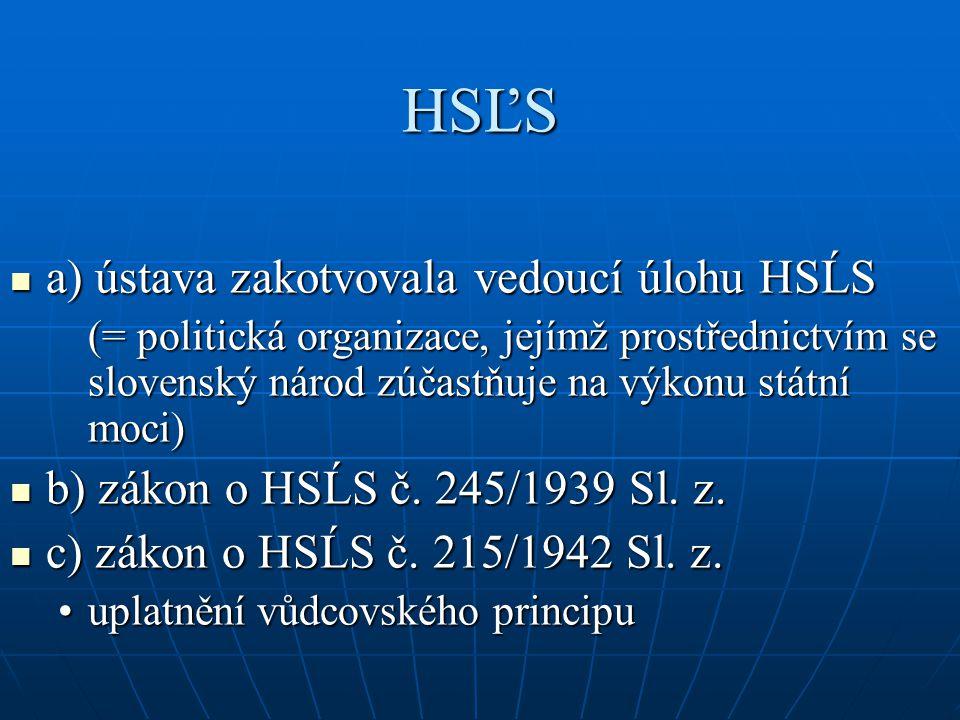 HSĽS a) ústava zakotvovala vedoucí úlohu HSĹS a) ústava zakotvovala vedoucí úlohu HSĹS (= politická organizace, jejímž prostřednictvím se slovenský ná