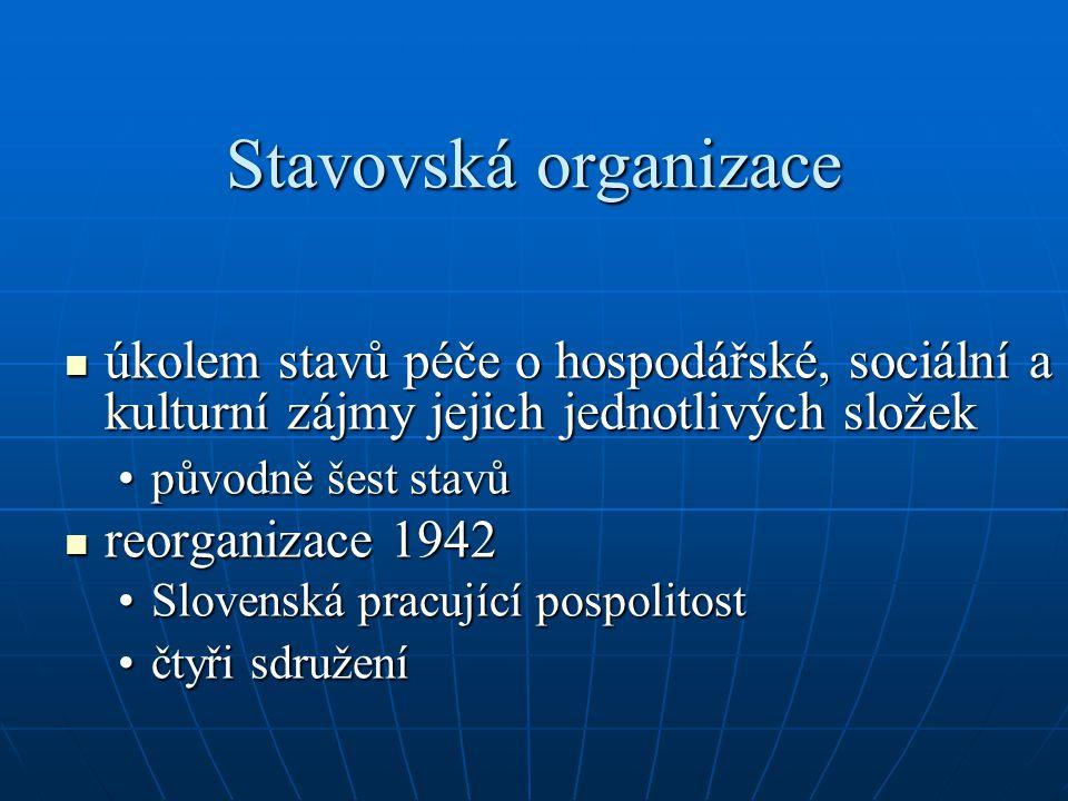 Stavovská organizace úkolem stavů péče o hospodářské, sociální a kulturní zájmy jejich jednotlivých složek úkolem stavů péče o hospodářské, sociální a