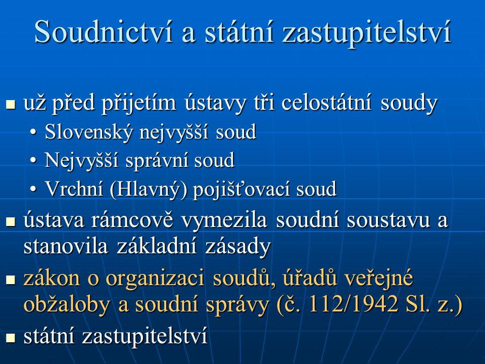 Soudnictví a státní zastupitelství už před přijetím ústavy tři celostátní soudy už před přijetím ústavy tři celostátní soudy Slovenský nejvyšší soudSl