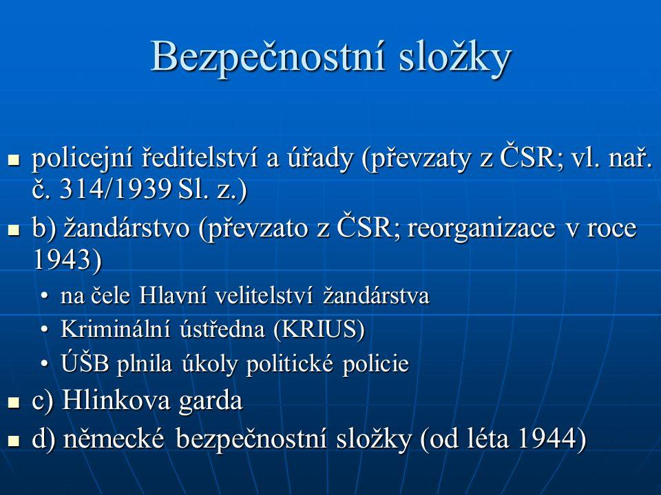Bezpečnostní složky policejní ředitelství a úřady (převzaty z ČSR; vl. nař. č. 314/1939 Sl. z.) policejní ředitelství a úřady (převzaty z ČSR; vl. nař