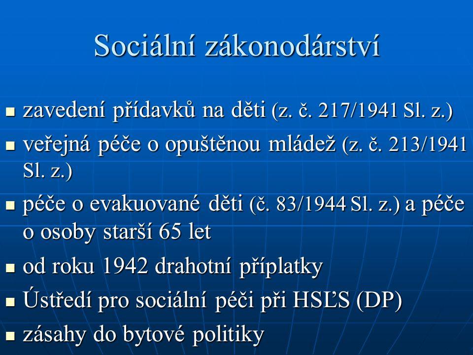Sociální zákonodárství zavedení přídavků na děti (z. č. 217/1941 Sl. z.) zavedení přídavků na děti (z. č. 217/1941 Sl. z.) veřejná péče o opuštěnou ml