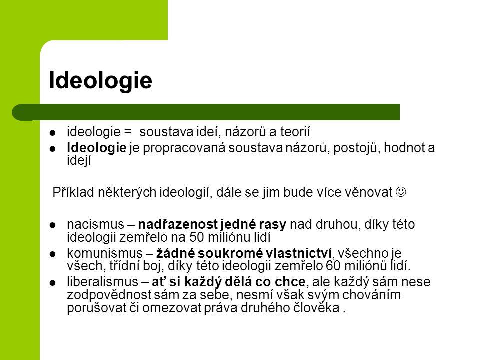 Ideologie ideologie = soustava ideí, názorů a teorií Ideologie je propracovaná soustava názorů, postojů, hodnot a idejí Příklad některých ideologií, dále se jim bude více věnovat nacismus – nadřazenost jedné rasy nad druhou, díky této ideologii zemřelo na 50 miliónu lidí komunismus – žádné soukromé vlastnictví, všechno je všech, třídní boj, díky této ideologii zemřelo 60 miliónů lidí.
