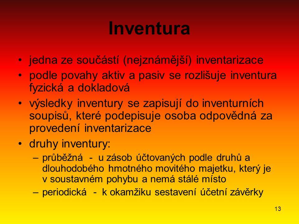 13 Inventura jedna ze součástí (nejznámější) inventarizace podle povahy aktiv a pasiv se rozlišuje inventura fyzická a dokladová výsledky inventury se