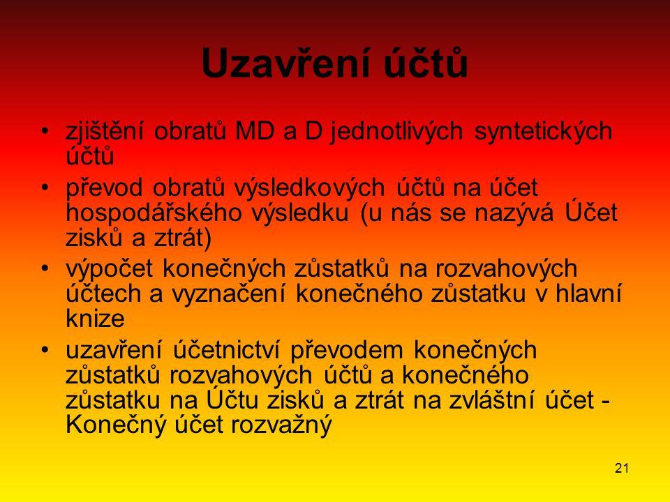 21 Uzavření účtů zjištění obratů MD a D jednotlivých syntetických účtů převod obratů výsledkových účtů na účet hospodářského výsledku (u nás se nazývá