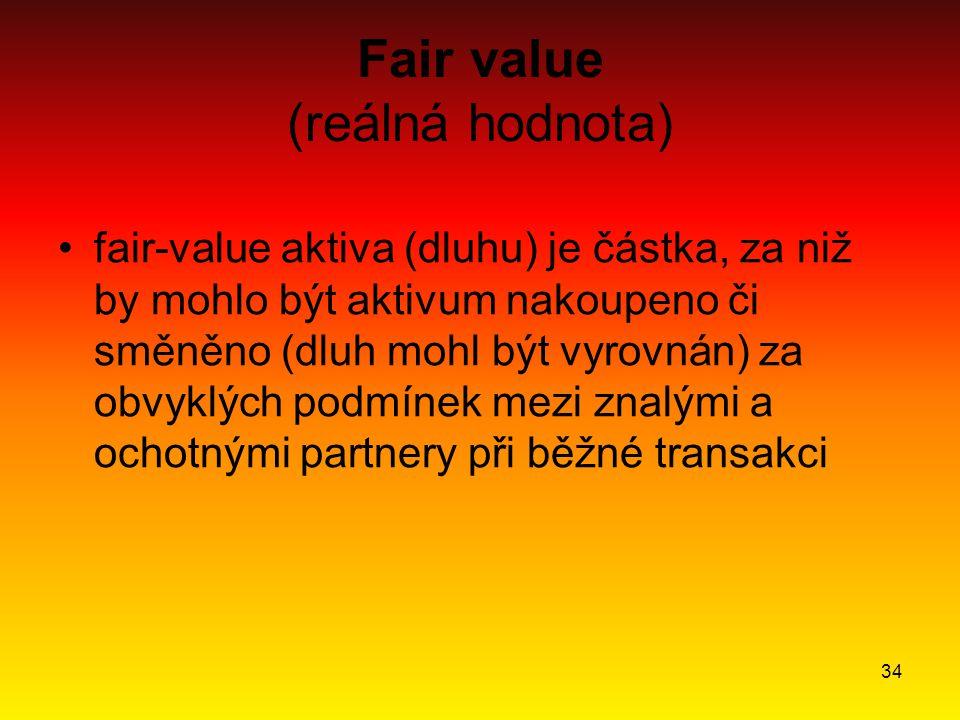 34 Fair value (reálná hodnota) fair-value aktiva (dluhu) je částka, za niž by mohlo být aktivum nakoupeno či směněno (dluh mohl být vyrovnán) za obvyk