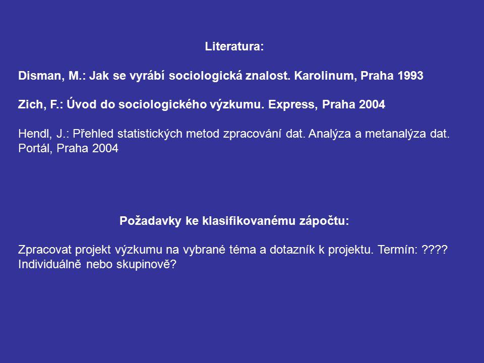 Literatura: Disman, M.: Jak se vyrábí sociologická znalost. Karolinum, Praha 1993 Zich, F.: Úvod do sociologického výzkumu. Express, Praha 2004 Hendl,