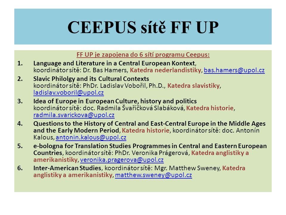 CEEPUS sítě FF UP FF UP je zapojena do 6 sítí programu Ceepus: 1.Language and Literature in a Central European Kontext, koordinátor sítě: Dr.