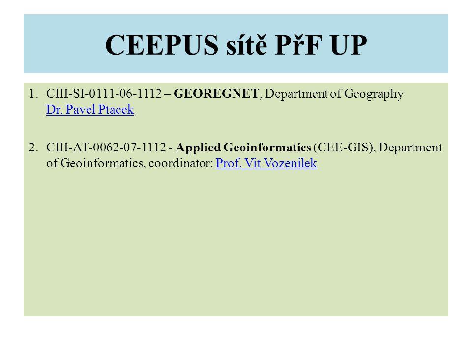 CEEPUS sítě PřF UP 1.CIII-SI-0111-06-1112 – GEOREGNET, Department of Geography Dr.