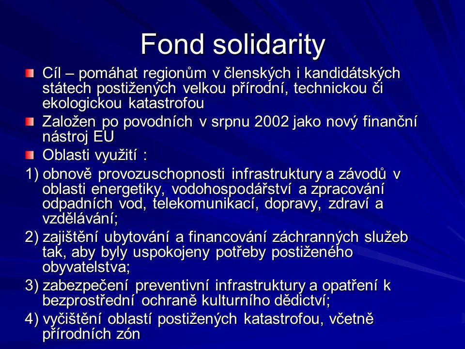 Fond solidarity Cíl – pomáhat regionům v členských i kandidátských státech postižených velkou přírodní, technickou či ekologickou katastrofou Založen
