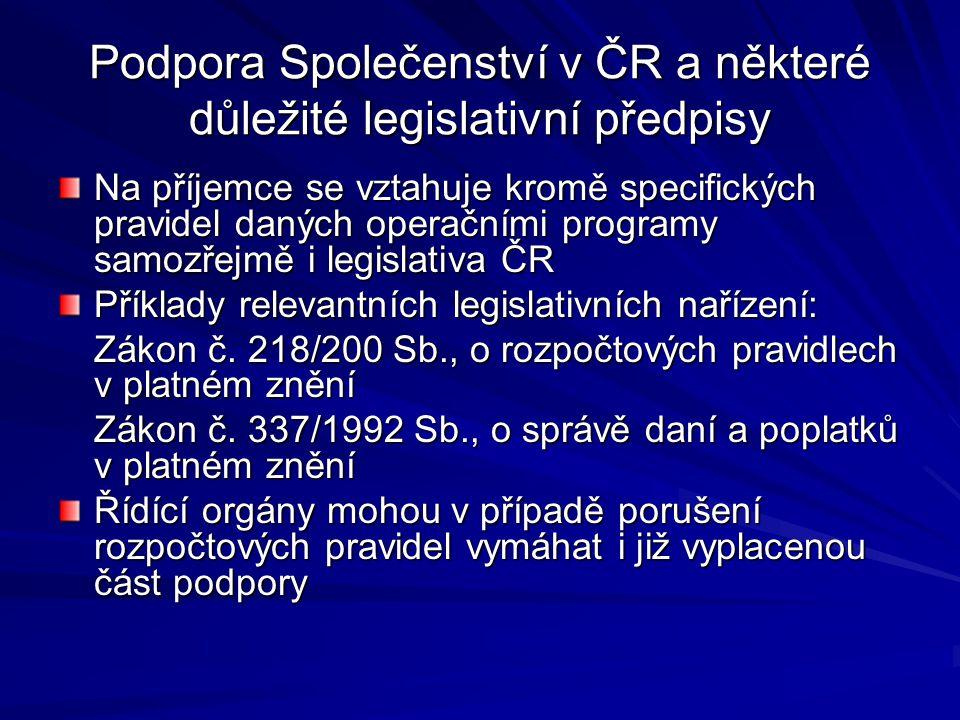 Podpora Společenství v ČR a některé důležité legislativní předpisy Na příjemce se vztahuje kromě specifických pravidel daných operačními programy samo