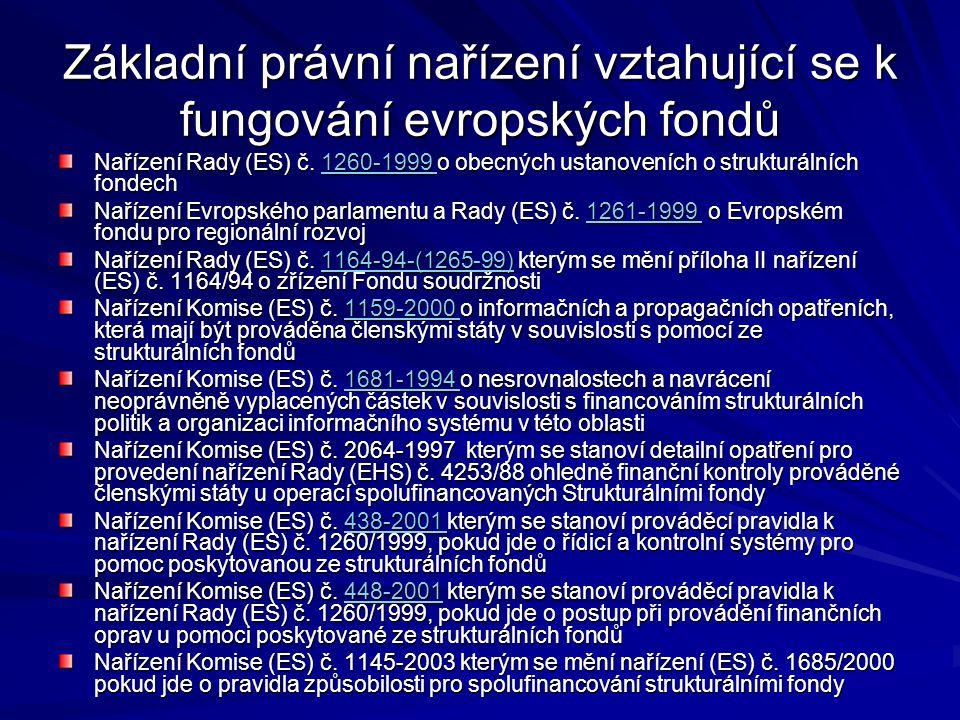 Základní právní nařízení vztahující se k fungování evropských fondů Nařízení Rady (ES) č. 1260-1999 o obecných ustanoveních o strukturálních fondech 1