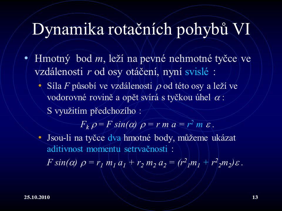 25.10.201013 Dynamika rotačních pohybů VI Hmotný bod m, leží na pevné nehmotné tyčce ve vzdálenosti r od osy otáčení, nyní svislé : Síla F působí ve v