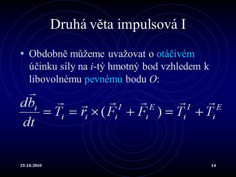25.10.201014 Druhá věta impulsová I Obdobně můžeme uvažovat o otáčivém účinku síly na i-tý hmotný bod vzhledem k libovolnému pevnému bodu O: