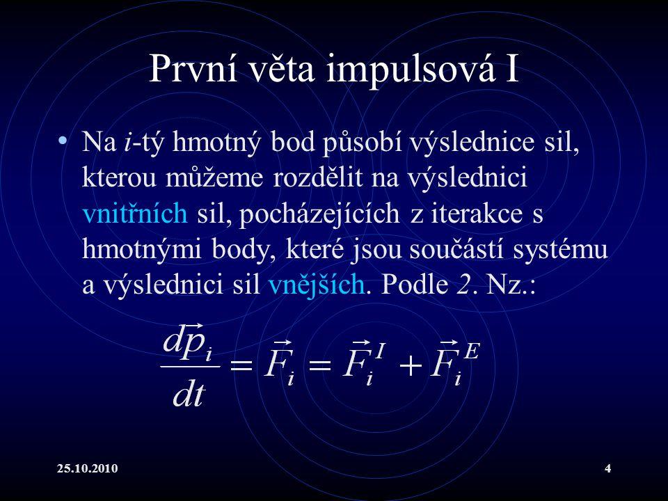 25.10.201015 Druhá věta impulsová II Celkový moment hybnost systému je vektorový součet všech momentů hybností uvažovaných k témuž pevnému bodu O: Při sčítání přes celý systém opět využíváme důsledku zákona akce a reakce.