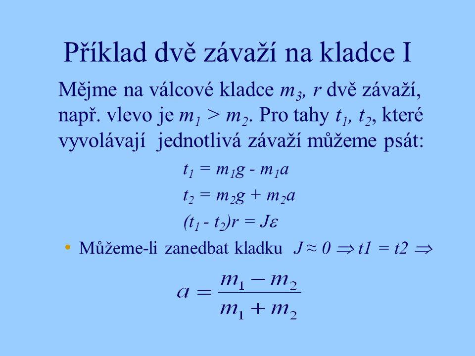 Příklad dvě závaží na kladce I Mějme na válcové kladce m 3, r dvě závaží, např. vlevo je m 1 > m 2. Pro tahy t 1, t 2, které vyvolávají jednotlivá záv