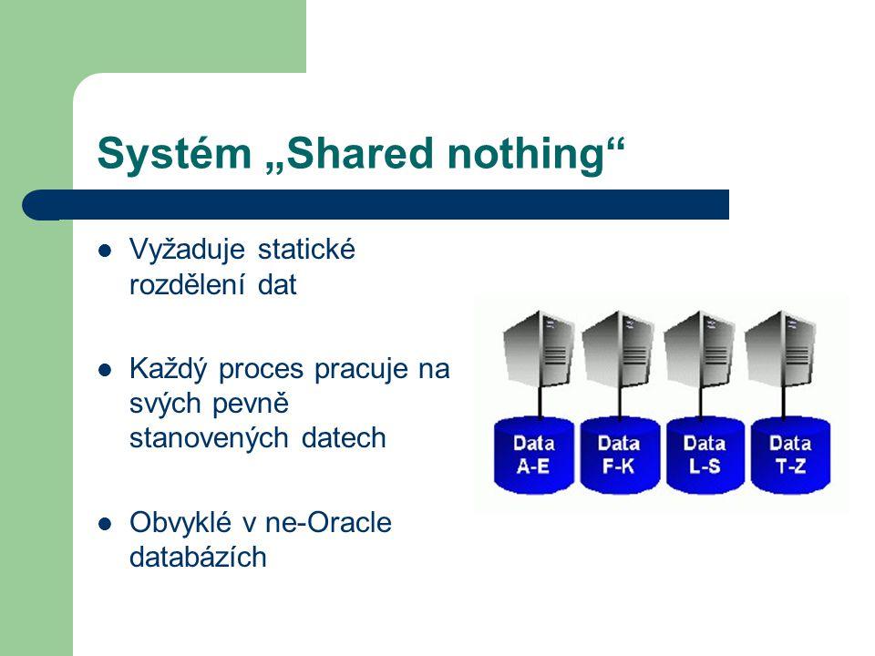 """Systém """"Shared nothing Vyžaduje statické rozdělení dat Každý proces pracuje na svých pevně stanovených datech Obvyklé v ne-Oracle databázích"""