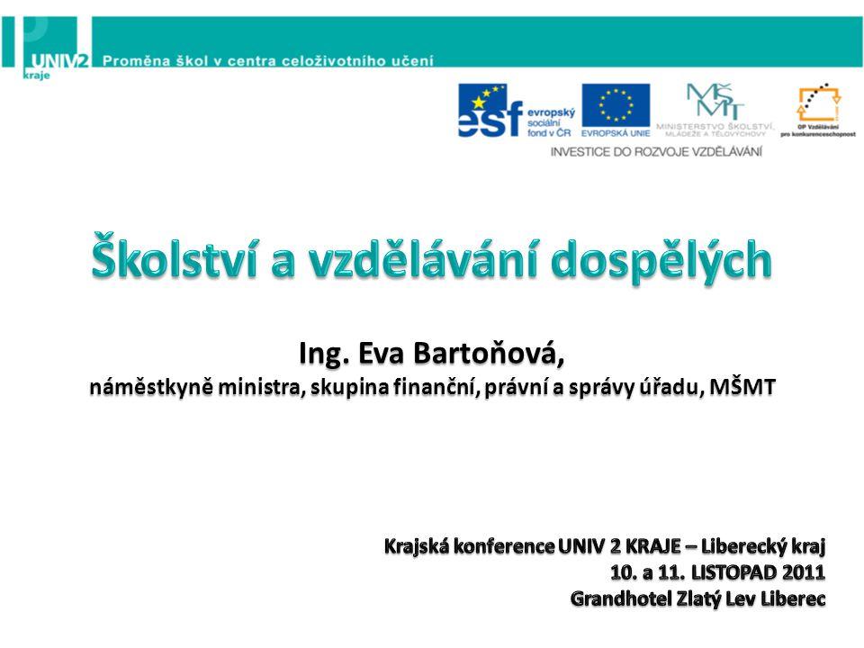 Ing. Eva Bartoňová, náměstkyně ministra, skupina finanční, právní a správy úřadu, MŠMT