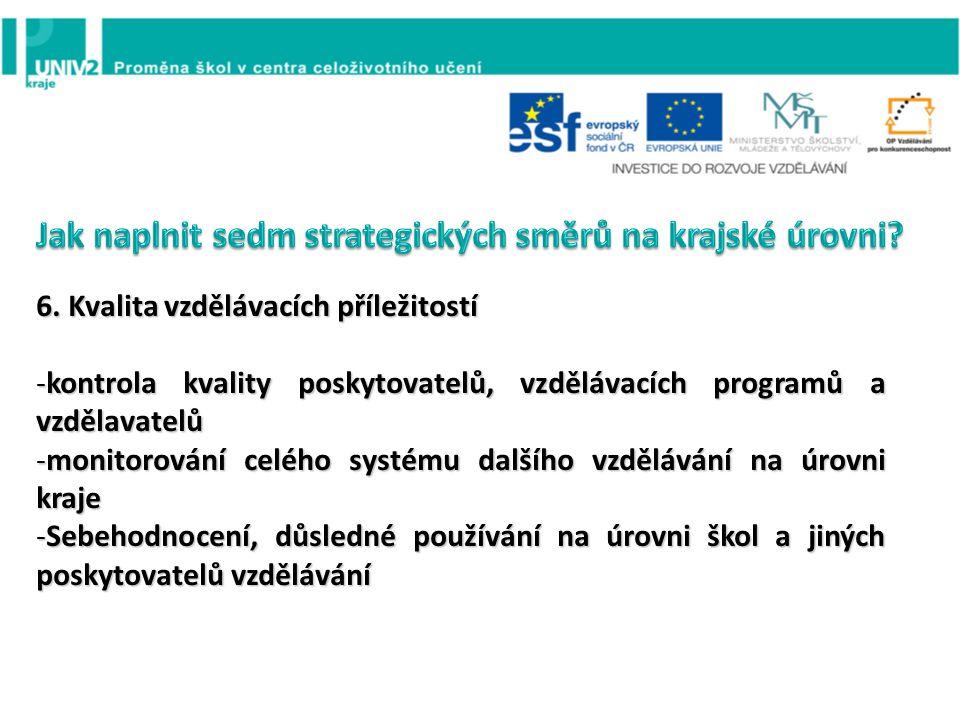 6. Kvalita vzdělávacích příležitostí -kontrola kvality poskytovatelů, vzdělávacích programů a vzdělavatelů -monitorování celého systému dalšího vzdělá