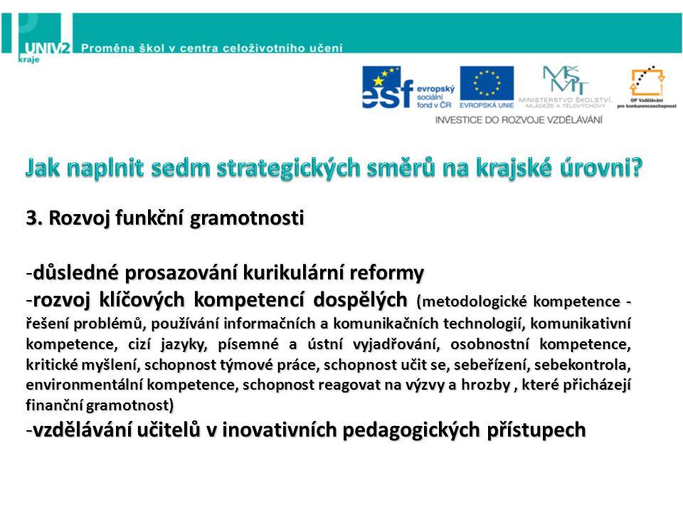 3. Rozvoj funkční gramotnosti -důsledné prosazování kurikulární reformy -rozvoj klíčových kompetencí dospělých (metodologické kompetence - řešení prob