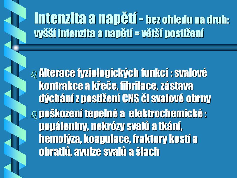 Intenzita a napětí - bez ohledu na druh: vyšší intenzita a napětí = větší postižení b Alterace fyziologických funkcí : svalové kontrakce a křeče, fibr