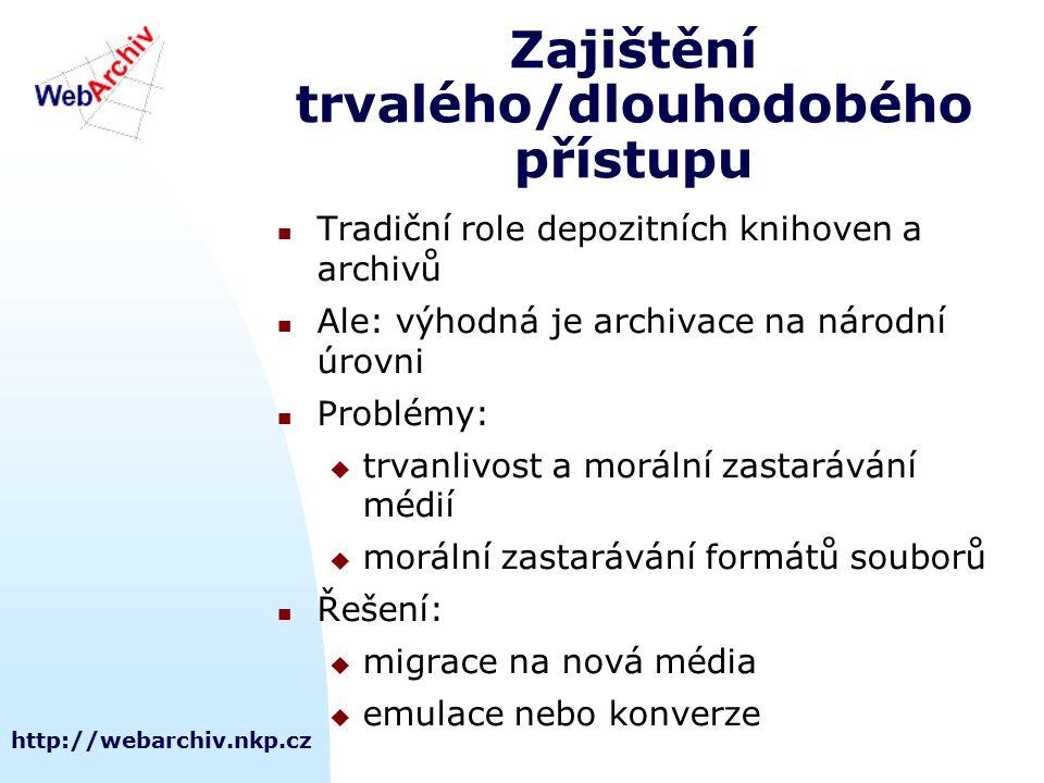 http://webarchiv.nkp.cz Zajištění trvalého/dlouhodobého přístupu Tradiční role depozitních knihoven a archivů Ale: výhodná je archivace na národní úro