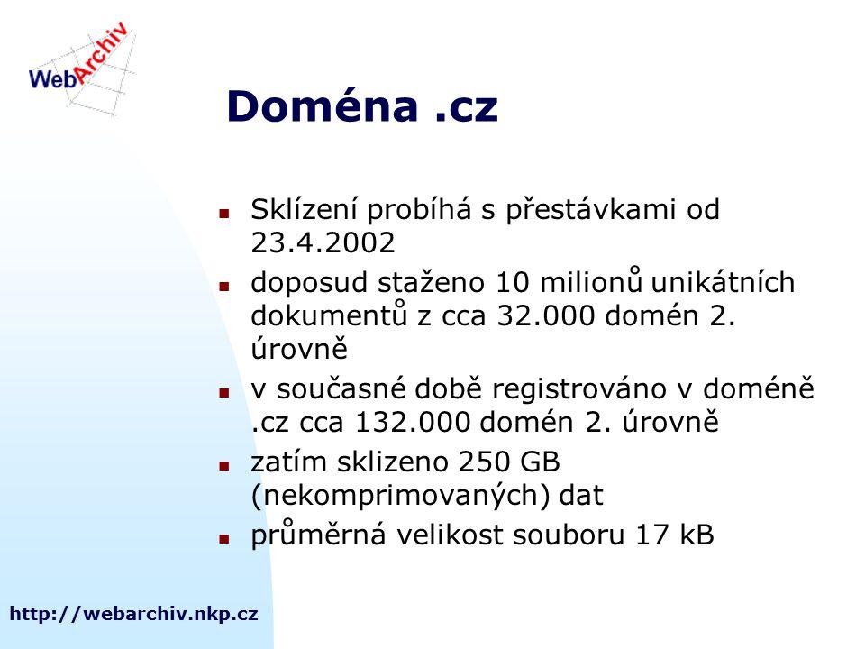 http://webarchiv.nkp.cz Doména.cz Sklízení probíhá s přestávkami od 23.4.2002 doposud staženo 10 milionů unikátních dokumentů z cca 32.000 domén 2. úr