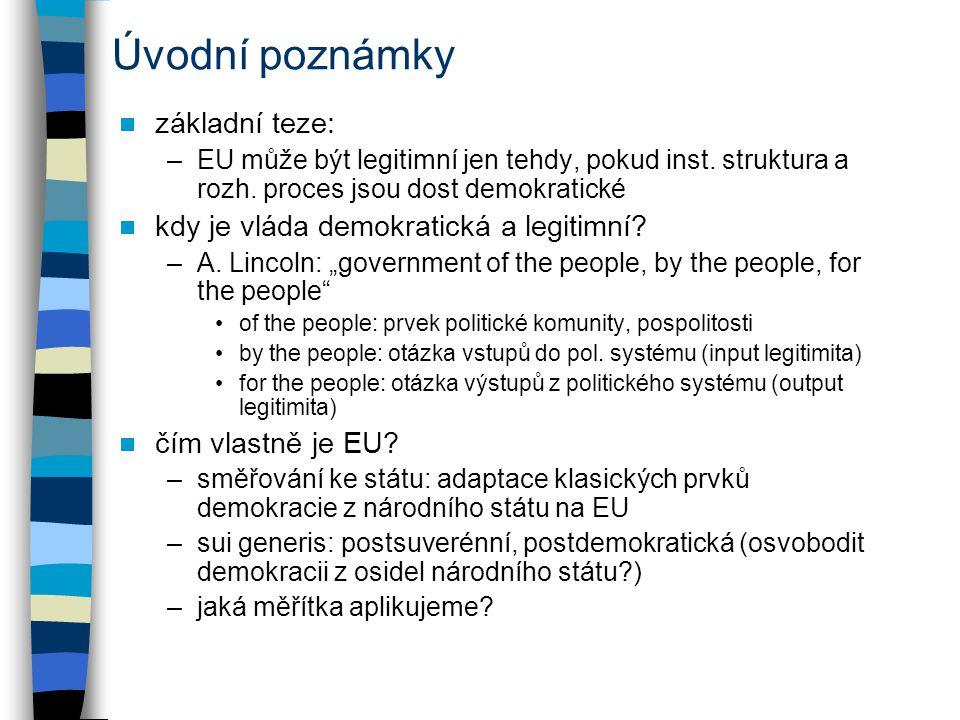 Mezi legitimitou a demokracií chybí vztah není zde žádná přímá úměra mezi proměnnými obsahová definice legitimity –EU je legitimní pro svůj cíl- cesta není důležitá –ordoliberalismus- integrace jako realizace osobní ekonomické autonomie (Ernst Mestmacker) klíčem prosazování čtyř svobod procesní definice legitimity, ale bez demokracie –vláda vs vládnutí- druhé daleko komplexnější (stejně jako svět) –korporativismus: odmítnutí politických stran, spíše role zájmových skupin –příklady: Komise a Bilá kniha o vládnutí (2001), Oliver Gerstenberg je v souladu s identitou EU i členských zemí?