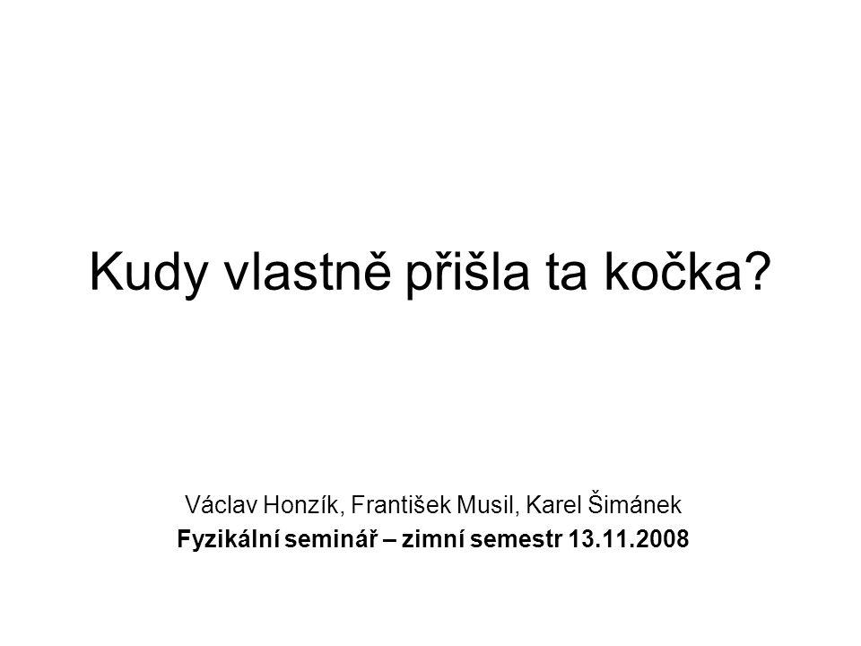 Kudy vlastně přišla ta kočka? Václav Honzík, František Musil, Karel Šimánek Fyzikální seminář – zimní semestr 13.11.2008