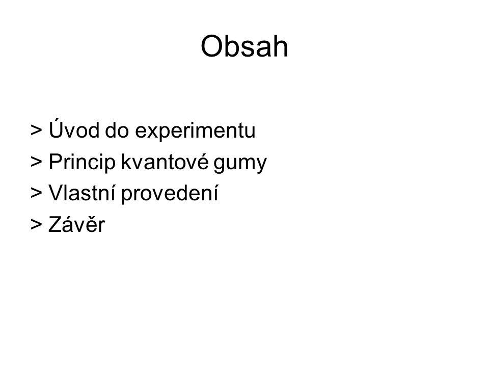 Obsah >Úvod do experimentu >Princip kvantové gumy >Vlastní provedení >Závěr