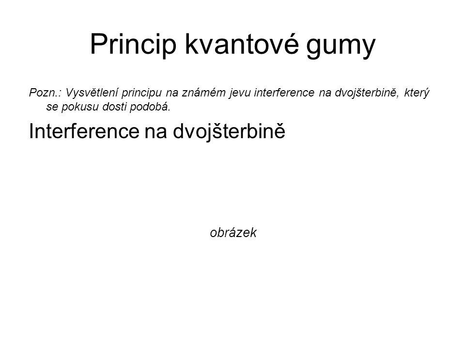 Princip kvantové gumy Pozn.: Vysvětlení principu na známém jevu interference na dvojšterbině, který se pokusu dosti podobá. Interference na dvojšterbi