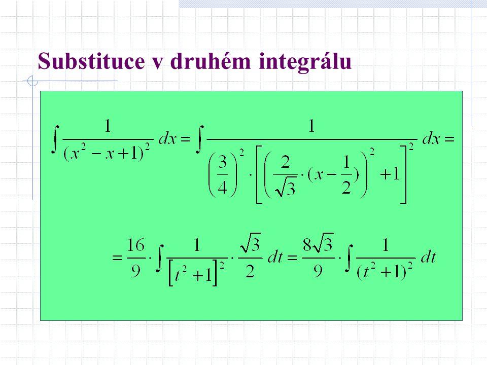 Substituce v druhém integrálu