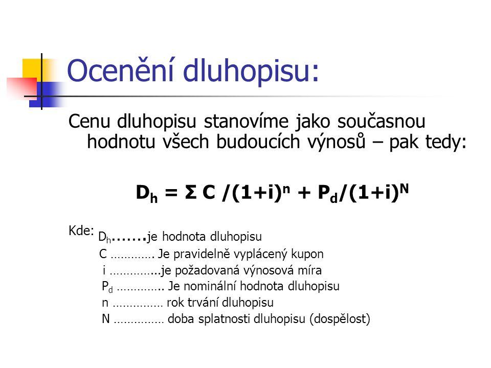 Ocenění dluhopisu: Cenu dluhopisu stanovíme jako současnou hodnotu všech budoucích výnosů – pak tedy: D h = Σ C /(1+i) n + P d /(1+i) N Kde: D h ……. j
