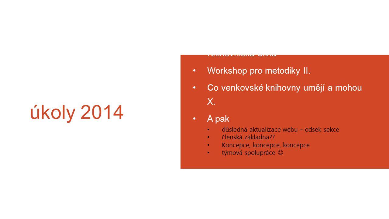 úkoly 2014 Knihovnická dílna Workshop pro metodiky II.