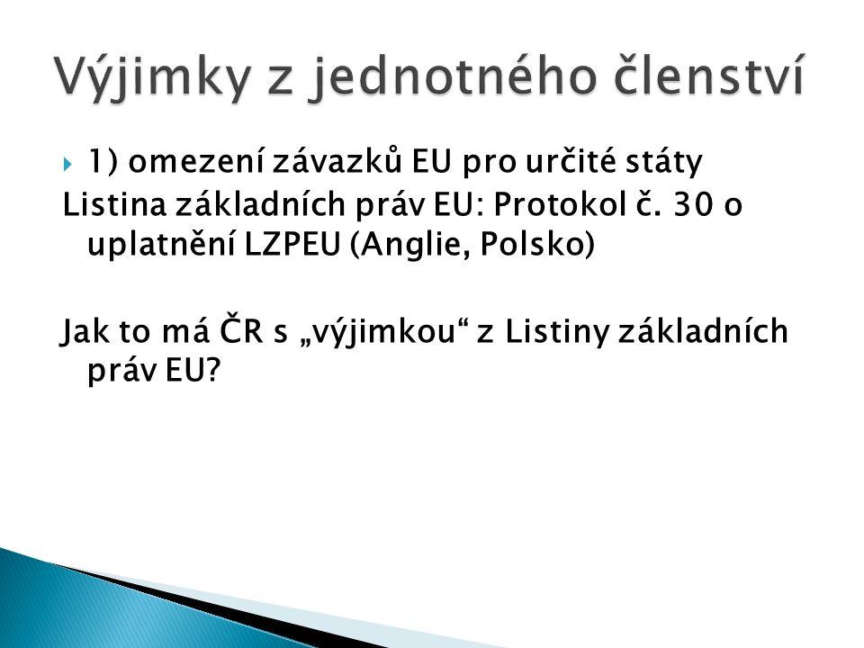 """ 1) omezení závazků EU pro určité státy Listina základních práv EU: Protokol č. 30 o uplatnění LZPEU (Anglie, Polsko) Jak to má ČR s """"výjimkou"""" z Lis"""