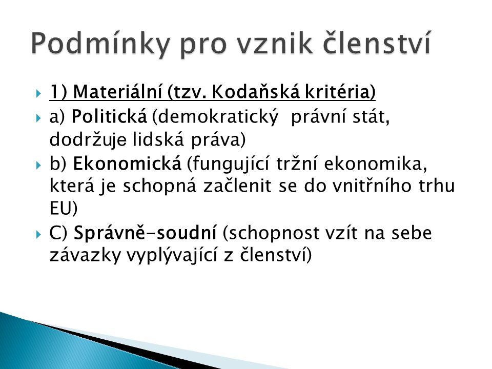  1) Materiální (tzv. Kodaňská kritéria)  a) Politická (demokratický právní stát, dodrž uje lidská práva)  b) Ekonomická (fungující tržní ekonomika,